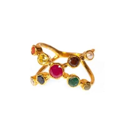 Navratna Ring Gold Tulku Jewels