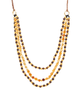 3 Strand Hessonite and Rudrani woven necklace