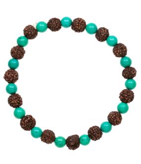 Turquoise Rudraksha Stretchy Bracelet