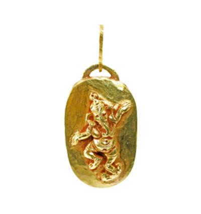 Dancing Ganesha TIki Amulet - Gold