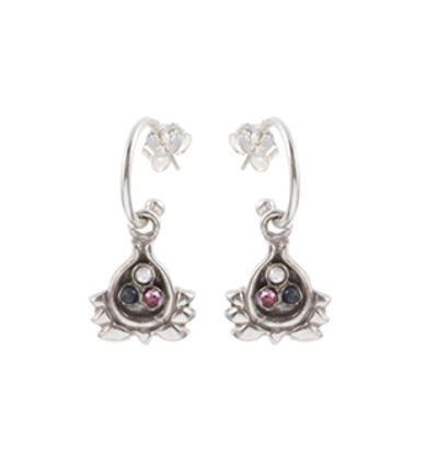 Half Lotus Earrings - Silver