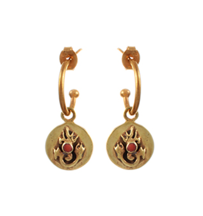 Tibetan Flame Earrings - Gold