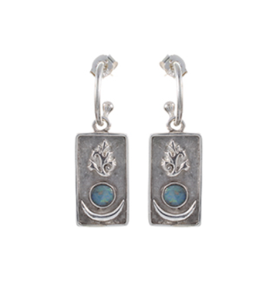 Sun Moon Flame Earrings - Silver