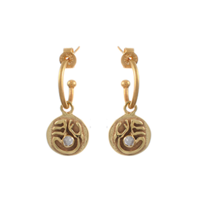 Tibetan Moon Earrings - Gold