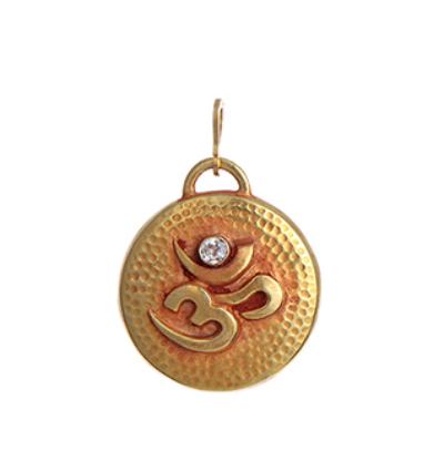 Round Om Amulet - Gold