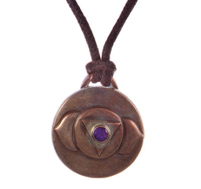 Third Eye Chakra Amulet with cord - Copper