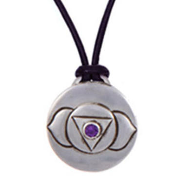 Third Eye Chakra Amulet with cord - Silver