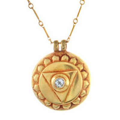 Throat Chakra Amulet with chain - Gold