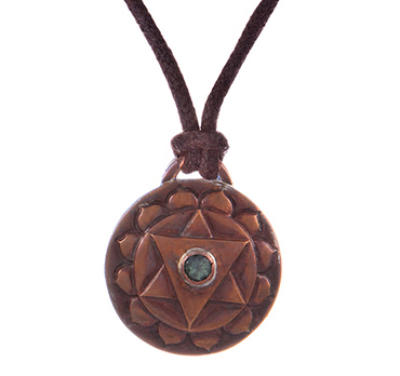 Heart Chakra Amulet with cord - Copper