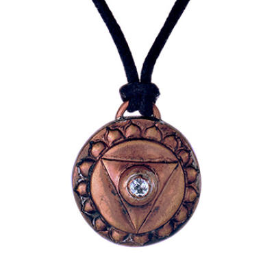 Throat Chakra Amulet with cord - Copper