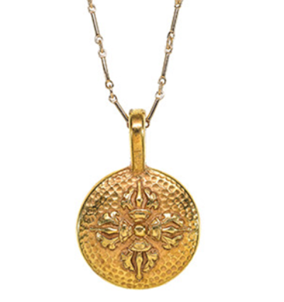 Double Dorje Amulet with Chain - Gold