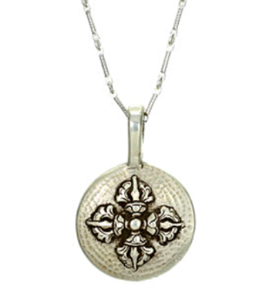 Double Dorje Amulet with Chain - Silver
