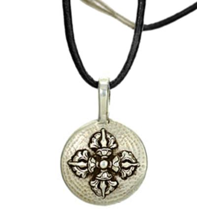 Double Dorje Amulet - Silver