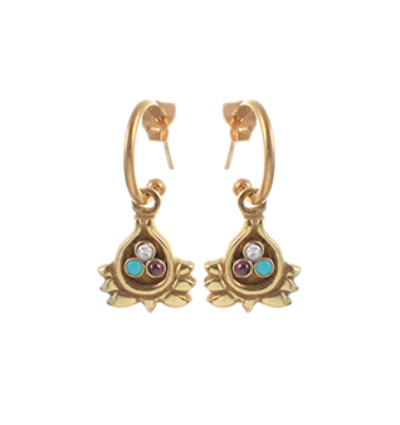 Half Lotus Earrings - Gold