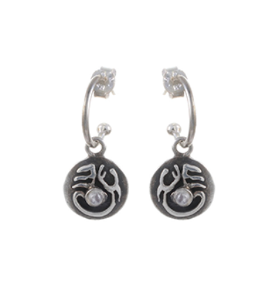 Tibetan Moon Earrings - Silver