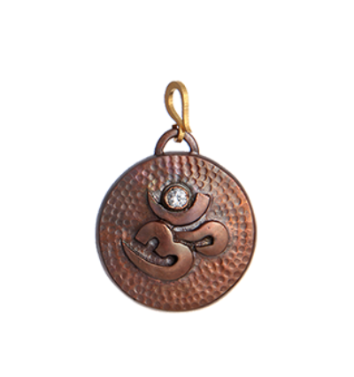 Round Om Amulet - Copper