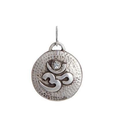 Round Om Amulet - Silver