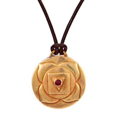 Root Chakra Amulet with cord - Gold