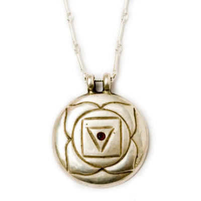 Root Chakra Amulet with chain - Silver