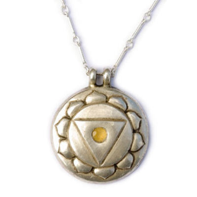 Navel Chakra Amulet with chain - Silver