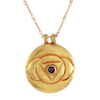 Third Eye Chakra Amulet with chain - Gold classic