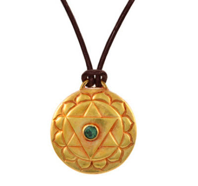 Heart Chakra Amulet with cord - Gold
