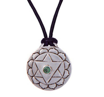 Heart Chakra Amulet with cord - Silver