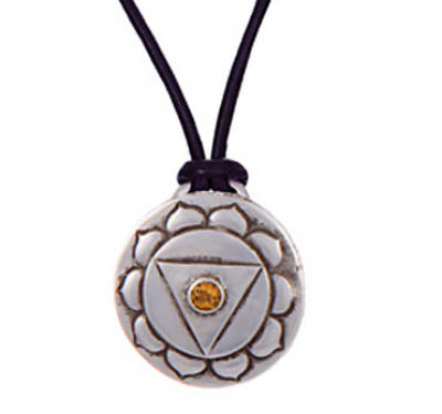 Navel Chakra Amulet with cord - Silver