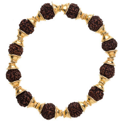 Rudraksha Bracelet, Stretchy with Cap - Gold