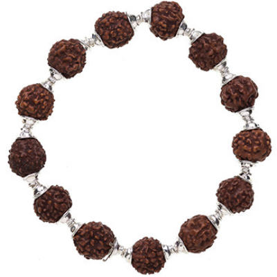 Rudraksha Bracelet, Stretchy with Cap - Silver
