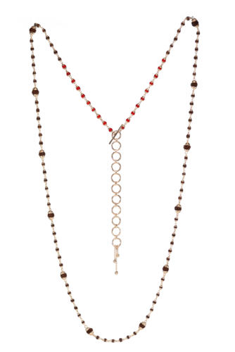 Rudrani Coral Rudraksha Mixed Necklace - Silver, Coral
