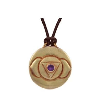 Third Eye Chakra Amulet with cord - Gold