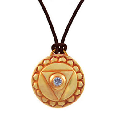 Throat Chakra Amulet with cord - Gold