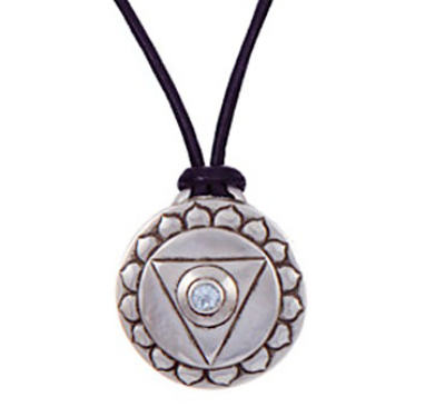 Throat Chakra Amulet with cord - Silver