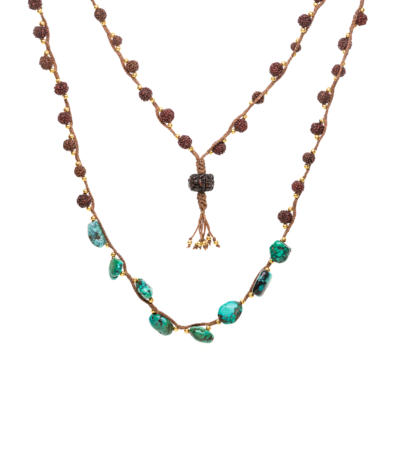 Woven Turquoise and Rudraksha gold bead Magic