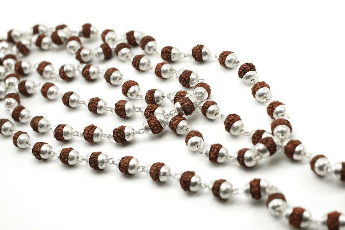 ef4bcaeb712 Siva Rudraksha Mala. Rudraksha beads with pure silver ...